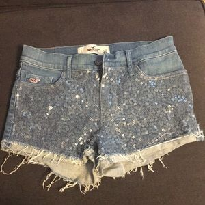 Sparkly Hollister shorts.
